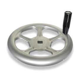 GN 228 Stainless Steel AISI 316L Sheet Metal Spoked Handwheels, with or without Revolving Handle Material: A4 - Stainless steel <br />Bore code: V - With square<br />Type: D - With revolving handle