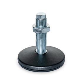 GN 36 Pieds de machine en acier, type de goujon fileté, sans trou de montage Type (Plaque de base): B - Avec tampon en caoutchouc