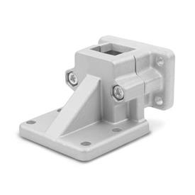 GN 171 Aluminum, Split Assembly, Flanged Base Plate Connector Clamps Finish: BL - Plain, tumbled finish