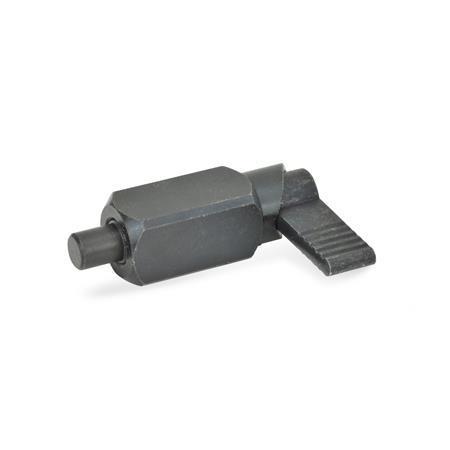 GN 612.3 Posicionadores de indexado por palanca de cuerpo cuadrado de acero, con bloqueo, soldable Tipo: A - Sin funda de plástico