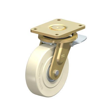 LS-GSPO Roulettes pivotantes en acier à roue en nylon pour usage intensif, avec support de platine, série de construction soudée Type: K-ST - Roulement à billes avec frein stop-top