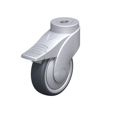 LWG-TPA Rodajas giratorias de nylon plastificado sintético WAVE, con ruedas de caucho termoplástico y ajuste con agujero para perno, componentes de acero Type: K-FI-FK - Cojinete de bolas con freno «stop-fix», con protección anti-hilos