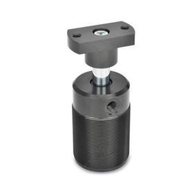 GN 876 Abrazaderas giratorias neumáticas de aluminio, estilo cuerpo roscado. Tipo: F - Brida adaptadora