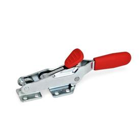 GN 850.2 Steel Hook Type Toggle Clamps, with Safety Hook, with Horizontal Mounting Base Type: T - With draw axle, with catch