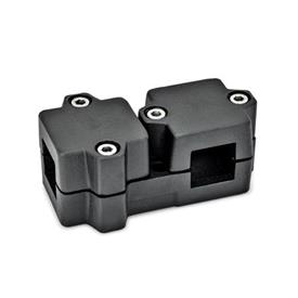 GN 194 Aluminum, Multi-Part Assembly, T-Angle Connector Clamps Square s<sub>1</sub>: V 40<br />Finish: SW - Black, RAL 9005, textured finish<br />Identification No.: 2 - with 4 Stainless Steel-clamping screws DIN 912