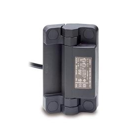 EN 239.6 Technopolymer Plastic Hinges with Integrated Safety Switch, with Connector Cable Type: CK - Cable at the backside