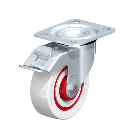 L-POW Zinc plated steel Noise Absorbing Swivel Casters, with Medium Duty Brackets  Type: R-FI-FK - Roller Bearing with Stop-Fix Brake, with Thread Guard
