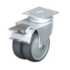 LDA-TPA Steel Light Duty Twin Wheel Swivel Casters, with Plate Mounting, Standard Bracket Series Type: K-FI-FK - Ball Bearing with Stop-Fix Brake, with Thread Guard