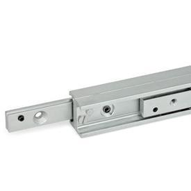 GN 2408 Guías lineales telescópicas de acero, con extension completa, con rieles conectados en forma de H Tipo: DG - Corredera con 1 agujero avellanado y 1 rosca