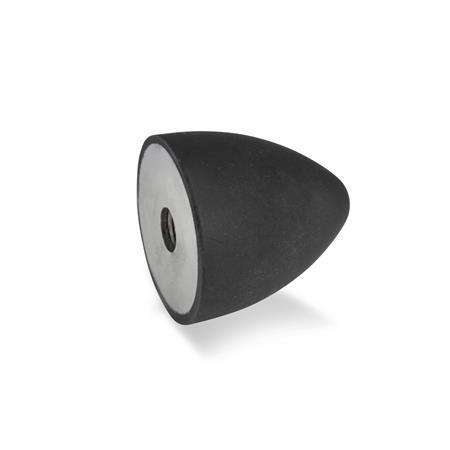 GN 353 Soportes de absorción de vibración / impacto de caucho, tipo cónico, con componentes de acero Tipo: E - Con agujero roscado