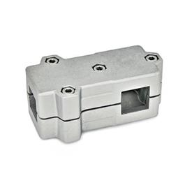 GN 193 Aluminum, Split Assembly, T-Angle Connector Clamps Square s<sub>1</sub>: V 40<br />Finish: BL - Plain, tumbled finish<br />Identification No.: 2 - with 4 Stainless Steel-clamping screws DIN 912