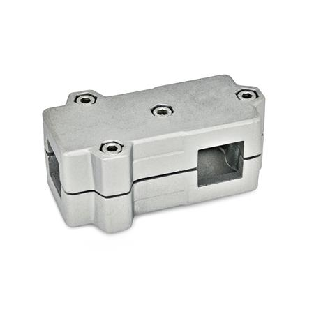 GN 193 Aluminum, Split Assembly, T-Angle Connector Clamps Square s<sub>1</sub>: V 40 Finish: BL - Plain, tumbled finish Identification No.: 2 - with 4 Stainless Steel-clamping screws DIN 912