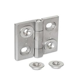 GN 127 Stainless Steel Hinges, Adjustable, with Alignment Bushings Material: A4 - Stainless steel <br />Type: B - Horizontal slots