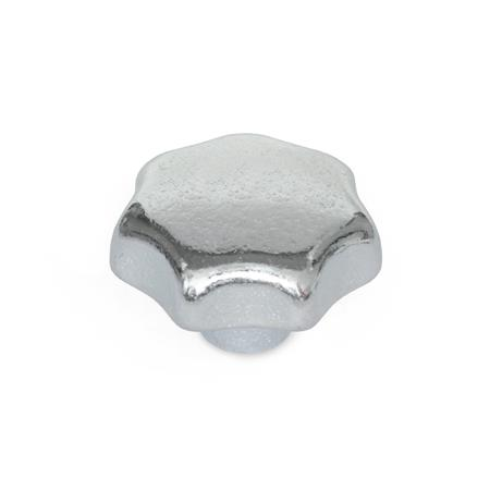 DIN 6336 Perillas de estrella de hierro fundido, zincadas, con orificio pasante o ciego roscado Material: GG - Hierro fundido Tipo: E - Con orificio ciego roscado Acabado: ZB - Zincado, acabado pasivado azul