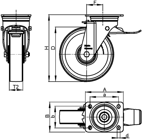 LS-GSPO Steel Heavy Duty Cast Iron Nylon Wheel Swivel Casters, with Plate Mounting, Welded Construction Series sketch