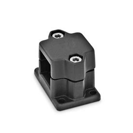 GN 147 Aluminum Split Assembly Flanged Connector Clamps, 4 Mounting Holes, Round or Square Bore Type Finish: SW - Black, RAL 9005, textured finish