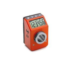 EN 9153 Indicadores de posición digitales de plástico tecnopolímero, electrónicos, con transmisión de datos por radiofrecuencia Color: OR - Naranja, RAL 2004