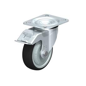 L-PATH Zinc plated steel stamping Medium Duty Gray Rubber Wheel Swivel Casters, with Plate Mounting  Type: K-FI-FK - Ball Bearing with Stop-Fix Brake, with Thread Guard