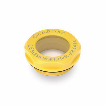 EN 543.6 Mirillas de líquido, de plástico, protección contra explosiones ATEX Tipo: B - Sin reflector