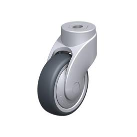 LWG-TPA Nylon Plastic WAVE Synthetic Swivel Casters, with Thermoplastic Rubber Wheels and Bolt Hole Fitting, Steel Components Type: G - Plain Bearing
