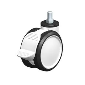 LKDG-PUA Nylon Plastic Twin Wheel Swivel Casters, with Threaded Stem Type: G-RA - Plain Bearing with Radstop Brake