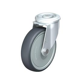 LER-TPA Steel Light Duty Swivel Casters, With Bolt Hole Fitting, Thermoplastic Rubber Wheels Type: K-FK - Ball Bearing with Thread Guard