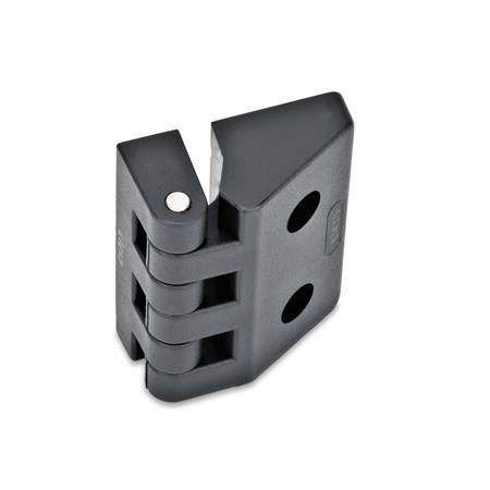 EN 154 Bisagras de plástico tecnopolimero  Tipo: C - 2 insertos roscados / 2 orificios para tornillos de cabeza hueca