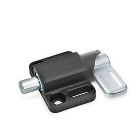 GN 722.3 Pestillos de muelle cuadrados, de acero, con bloqueo, con brida de fijación, en paralelo al pasador de cerrojo Tipo: L - Palanca a la izquierda<br />Acabado: SW - Negro, RAL 9005, acabado texturizado