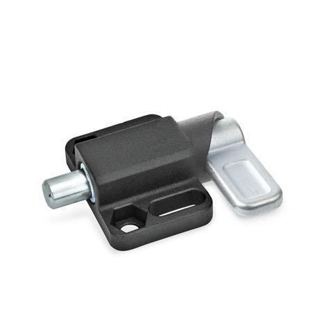 GN 722.3 Pestillos de muelle cuadrados, de acero, con bloqueo, con brida de fijación, en paralelo al pasador de cerrojo Tipo: L - Palanca a la izquierda Acabado: SW - Negro, RAL 9005, acabado texturizado