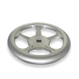 GN 228 Stainless Steel AISI 316L Sheet Metal Spoked Handwheels, with or without Revolving Handle Material: A4 - Stainless steel <br />Bore code: V - With square<br />Type: A - Without handle