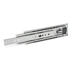 GN 1440 Steel Telescopic Slides, with Full Extension, Load Capacity up to 731 lbf Type: K - With rubber stop, latch in extended position