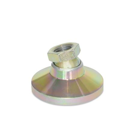 Winco Inc. Metric Size M12 x 1.7 Thread Size 1740kg Static Load J.W 125mm Stud/Length JW Winco 12N5WP4 NY-LEV Series WN 9100 Steel Stud Type Leveling Mount without Lag Bolt Holes Glass Filled Nylon Plastic Base