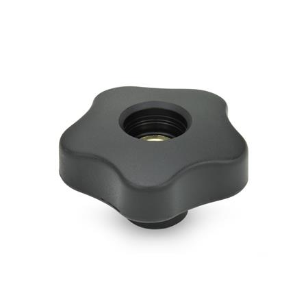 EN 5337.7 Technopolymer Plastic Five-Lobed Knobs, with Stainless Steel Tapped Through Insert Type: D - Without cover cap (tapped through bore)