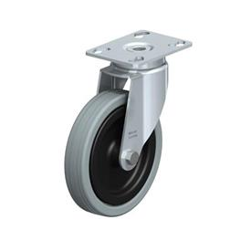 LKPA-VPA Zinc plated steel Light Duty Gray Rubber Wheel Swivel Casters, with Plate Mounting, Heavy Bracket Series  Type: G - Plain Bearing
