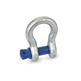 GN 585 Steel Bow Shackles Type: A - With threaded pin