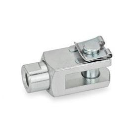GN 751.1 Articulaciones de horquilla de acero, con eje giratorio Tipo: SL - Pasador con clip de seguridad