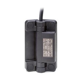 EN 239.6 Charnières en technopolymère avec contacteur de sécurité intégré et câble Type: AK - Câble en haut