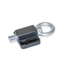 GN 722.6 Posicionadores de indexado, de acero, con brida de montaje, en paralelo al perno del posicionador Tipo: A - Con anillo de tracción<br />Acabado: SW - Negro, RAL 9005, acabado texturizado