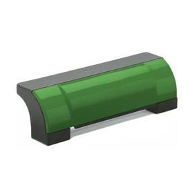 EN 630 Jaladeras en «U» de seguridad, cerradas, inclinadas de plástico tecnopolímero, Ergostyle®, con agujeros pasantes avellanados Color de la cubierta: DGN - Verde, RAL 6017, acabado brillante