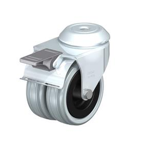 LMDA-VPA Steel, Medium Duty Gray Rubber Twin Swivel Casters, with Bolt Hole Mounting  Type: G-FI - Plain Bearing with Stop-Fix Brake