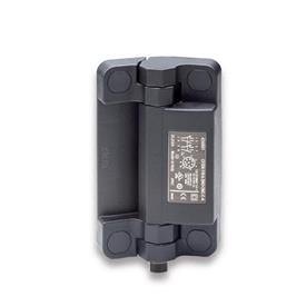 EN 239.6 Bisagras de plástico tecnopolímero con interruptor de seguridad integrado, con enchufe conector Tipo: BS - Conector en la parte inferior