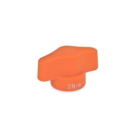 EN 5320 Tuercas de mariposa limitadoras del par de apriete de plástico tecnopolímero, con inserto roscado de acero Color: OR - Naranja, acabado mate