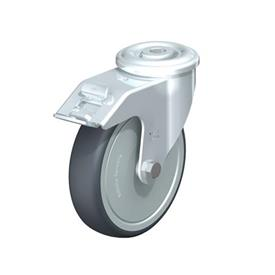 LER-TPA Steel Light Duty Swivel Casters, With Bolt Hole Fitting, Thermoplastic Rubber Wheels Type: K-FI-FK - Ball Bearing with Stop-Fix Brake, with Thread Guard