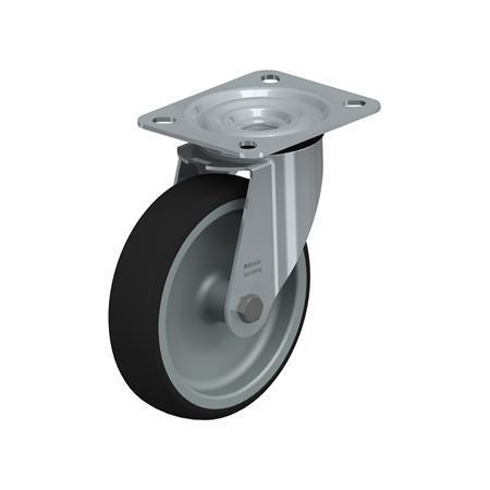 LE-PATH Roulettes pivotantes en acier à bande de roulement en polyuréthane pour service mi-lourd, avec support de platine Type: G - Palier lisse