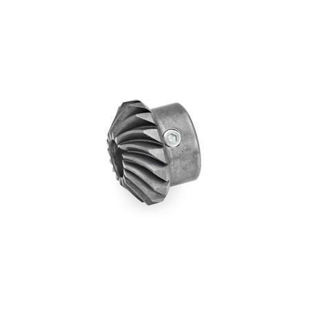 GN 297 Ruedas de engranaje cónico de acero, con bisel en espiral para actuadores lineales / unidades de transferencia con engranaje angular  Type: R - Rueda de engranaje cónico, avance a la derecha