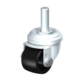 LRA-POA Steel Black Nylon Wheel Swivel Casters with Bolt Hole Mounting or Threaded Stem, Standard Bracket Series Type: G-GS - Plain Bearing with Threaded Stem