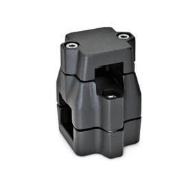 GN 135 Aluminum Two-way connector clamps, multi part assembly, unequal bore dimensions Square s<sub>1</sub>: V 30<br />Finish: SW - Black, RAL 9005, textured finish