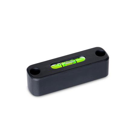 GN 2283 Aluminum Screw-On Spirit Levels, with Mounting Holes Color: ALS - Anodized finish, black Sensitivity: 50 - Angular minutes, bubble moves by 2 mm Type: AV - Aligned, mounting from the front
