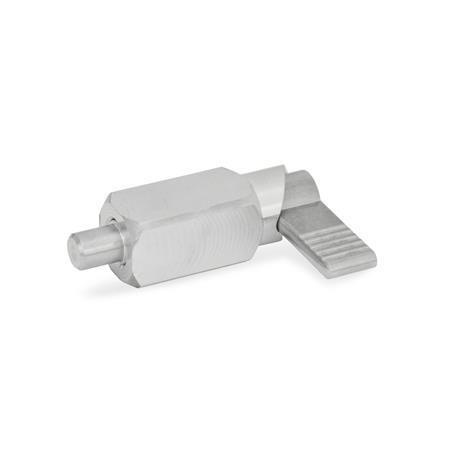 GN 612.3 Posicionadores de indexado por palanca de cuerpo cuadrado de acero inoxidable, con bloqueo, soldable Tipo: A - Sin funda de plástico