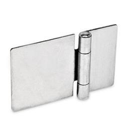 GN 136 Bisagras de chapa metálica de acero inoxidable, extendido horizontalmente Material: NI - Acero inoxidable<br />Tipo: A - Sin orificios